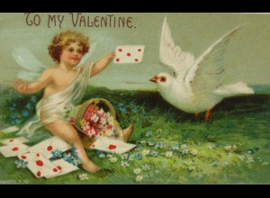 Valentinstag, Engel, Tauben, Brief, 1908, Prägekarte ♥ (12383)