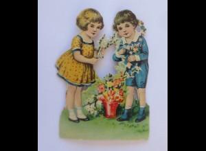 Oblaten, Kinder, Blumen, 9 cm x 6,5 cm ♥ (42756)