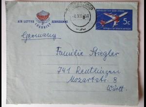 Südafrika, Aerogramm 1964 nach Reutlingen