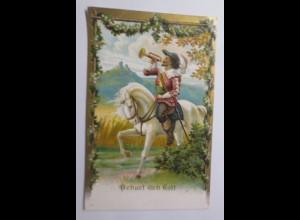 Musketier, Behüt dich Gott, 1908, Prägekarte ♥ (18613)