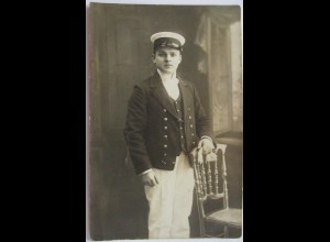 Junger Mann, Mode, Marine, Anzug, Fotokarte Hamburg 1913