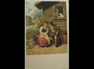 """Frauen, Männer, Hütte, Bergen Trachten"" 1900 ♥"