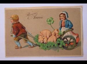 """""""Neujahr, Schwein, Schubkarre, Kleeblatt"""" 1906, Prägedruck ♥ (39829)"""