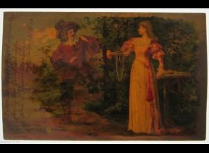 """""""Frauen, Spruch, Trompete, Musketier"""" 1900, Halt gegen das Licht ♥ (16165)"""