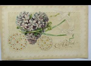 """""""Freundschaft, Herz, Blumen""""1903, Prägekarte ♥ (4234)"""
