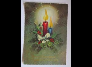 Weihnachten, Kerze, Disteln, Zweig, 1966 ♥ (50769)