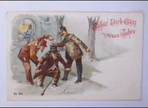 Neujahr, Männer, Polizei, Betrunkene, 1901♥ (49578)