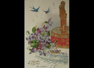 Glückwunsch, Schwalben, Brunnen, Blumen, 1907, Golddruck, Prägekarte ♥ (192)