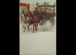 """""""Gruss aus der Landparthie, Kutsche"""" 1900 ♥"""