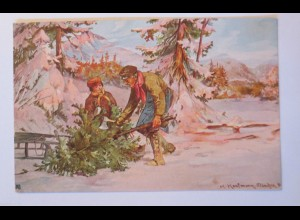 """""""Weihnachten, Männer, Kinder, Schlitten, Tanne"""" 1907, H. Kaufmann ♥ (28725)"""
