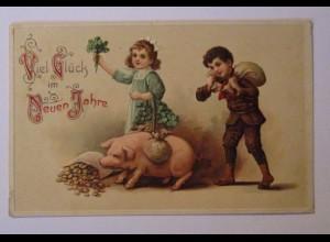"""""""Neujahr, Kinder, Schwein, Sack, Münzen, Klee"""" 1914, Prägekarte ♥ (38944)"""