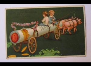 """""""Neujahr, Kinder, Schwein, Wagen, Münzen"""" 1910 ♥ (38943)"""