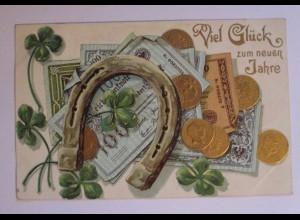 Neujahr, Münzen, Hufeisen, Kleeblatt, Geldschein, 1906, Prägekarte ♥ (38896)