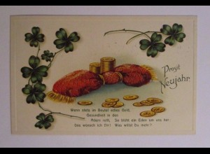 Neujahr, Münzen, Kleeblatt, 1914, Prägekarte ♥ (38823)