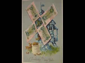 Neujahr, Windmühle, Geldschein, Münzen, 1911 ♥ (21518)