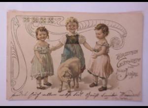 """Neujahr, Kinder, Mode, Schwein, Jugendstil"" 1903, Golddruck ♥ (18670)"