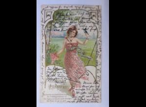 Pfingsten, Frauen, Mode, Vogel, Jugendstil, 1905, Golddruck ♥ (43430)