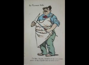 La Noveaux Riches, Metzger, Berufe, Scherzkarte ca. 1920
