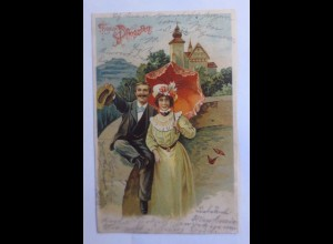 Pfingsten, Frauen, Männer, Mode, 1903 ♥ (43436)