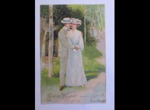 Pfingsten, Frauen, Männer, Mode, Wald, 1907, Prägekarte ♥ (43433)