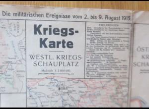 Landkarte, Kriegskarte, West. Kriegsschauplatz 1915 ♥