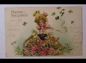 """""""Neujahr, Schwein, Frauen, Rosen,Kleeblatt"""" 1904, Prägekarte ♥ (38929)"""