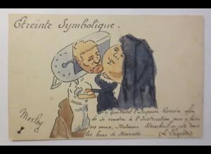 Frankreich, Politische Karikatur, Handgemalt, sign. Morley 1900 ♥ (72202)