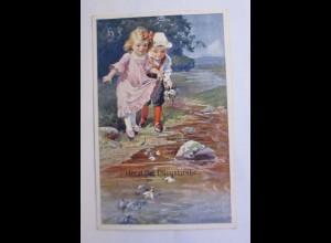 Pfingsten, Kinder, Mode, Bach, 1910 ♥ (43425)