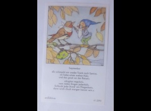 Sammelbild, Zwerg, Vogel, 10,5 cm x 6,5 cm 1950, Ida Bohatta Morpurgo♥