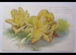 Blumen, Spruch, Rosen, 1900, Glitzerperlchen ♥ (7073)