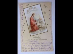 """Kommunion, Engel, Jesus, Lamm, Der gute Hirte"" 1913, Prägekarte ♥"