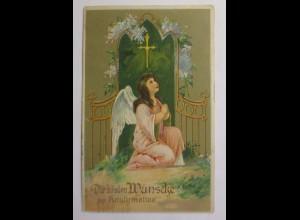 Konfirmation, Engel, Beten, 1922, Prägekarte ♥ (42644)