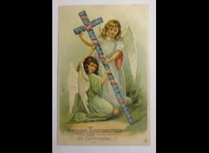 Konfirmation, Engel, Kreuz, 1908, Prägekarte ♥ (42645)