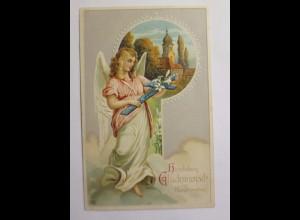 Konfirmation, Engel, Kreuz, Kirche, Jugendstil, 1907, Prägekarte ♥ (42641)