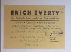 Zirkus, Erich Everty, Bauchredekunst, 1946, Heidelberg ♥ (43586)