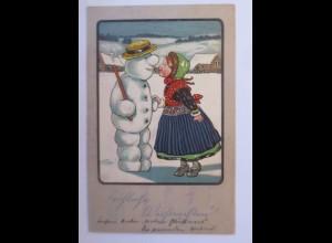 Weihnachten, Kinder, Schneemann, 1907, sig. EP. Prägekarte ♥ (67155)