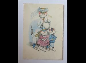 Personifiziert, Katzen, Mode, 1950, Anco ♥