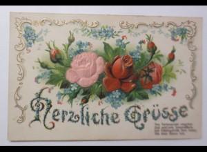 Jugendstil, Blumen, Rosen, Vergissmeinnicht, Spruch, 1908, Prägekarte ♥ (49567)