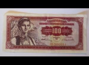 Geldschein, Jugoslawien, 100 Dinara, HS ♥