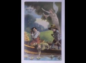 Schutzengel, Engel, Kinder, Boot, Seerosen, 1914, Golddruck ♥