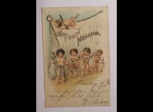 """""""Neujahr, Engel, Schwein, Kleeblatt"""" 1901, Glitzerkarte ♥ (40353)"""