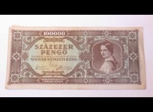Geldschein, Geldschein, Ungarn, 100000 Szazezer Pengö, M.488 1945 ♥