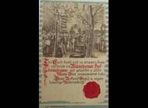 """""""Münchener Hof-Bräuhaus, Fass, Bier, Männer, Siegel"""" 1910, Prägekarte ♥ (1568)"""