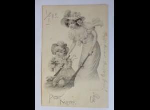 """""""Neujahr, Frauen, Schwein, Schubkarre"""" 1901, Theo Stroefer ♥ (46278)"""