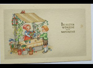 Namenstag, Kinder, Mode, Blumenladen, 1932 ♥ (9120)