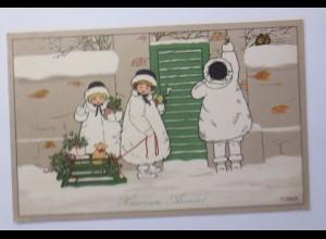 """""""Neujahr, Kinder, Mode, Schlitten, Schwein, Misteln"""" 1909 ♥ (45415)"""
