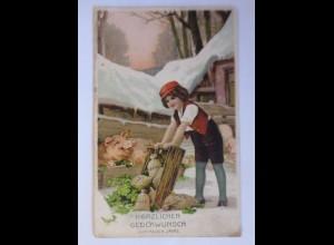 """""""Neujahr, Kinder, Münzen, Schwein, Kleeblatt"""" 1919, Prägekarte ♥ (42441)"""