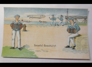 Etikett für Spielzeug Nelson, Zeppelin, Matrose, Akkordeon, 1910 ♥