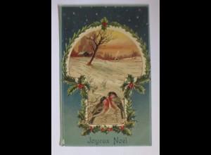 Weihnachten, Vogel, Winterlandschaft, Disteln, 1908, Prägekarte ♥ (51410)