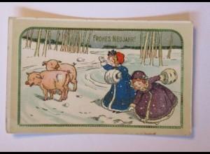 """""""Neujahr, Kinder, Schwein, Mode, Muff"""" 1912 ♥ (40530)"""